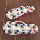 Women Tory Burch  Summer Flat Flip Flops Beach Design Ivory Avalon Red Sole