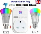 B22/E27 Smart Remote Light Bulb + Wifi Plug Socket For Echo Alexa Google Home UK