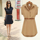 Women V Neck Blouse Chiffon Short Sleeve Shirt Casual Loose Tops Mini Dress BD