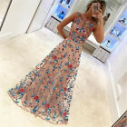 Women Long Prom Floral Formal Evening Cocktail Party Bridesmaids Gown Full Dress
