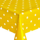 Polka Dot Spot Wipe Clean PVC Tablecloth Table Cover Vinyl, Ochre Yelow Mustard