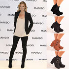 Ladies Womens Ankle Boots Chunk Block High Heel Chelsea Slip On Shoes Size 7-8