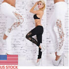 Womens Sexy Hollow Lace Skinny Denim Jeans Legging Pencil Pants Long Trousers HX