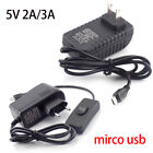 Micro USB Power Adapter Supply 5V 2A 3A on/off Switch For Raspberry Pi Zero PC
