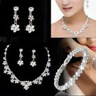 Silver Wedding Party Prom Bride Crystal Diamond Necklace Earrings Jewelry Set UK