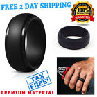 Silicone Wedding Ring Men Black Rubber Band Flexible Comfortable Lifestyle Activ