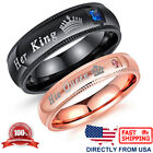 Couple's Matching Ring, His Queen and Her King Wedding Band Comfort Fit Ring