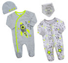 Baby Boys Space Rocket Babygrow Hat Bib Set Multipack Sleepsuit New Baby Gift BN