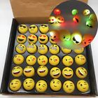 Light Up LED Flashing EMOJI RINGS EMOTICON Jelly Party Favors Toys 6 12 24 PC