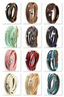 Three Star Two Wrap Leather Bracelet With Magnetic Clasp up to 7.5 '