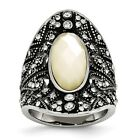 Stainless Steel Antiqued Crystal and Mother of Pearl Ring