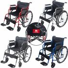 Lightweight Transit Folding Wheelchair Portable Travel Puncture Proof Carry UK