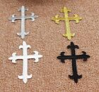 "(U) CHRISTIAN CROSS 3-3/4"" x 2-3/4"" iron on patches appliques CHOOSE COLOR"