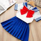 Toddler Kids Baby Girls Blue Nautical Red Bow Pleated Dress Summer Clothes 2-7T