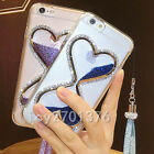Bling Glitter Quicksand Hourglass Soft Back Phone Dynamic Cover Case& strap #1