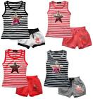 Girls Stripe Vest Spangle Rainbow Star Top & Sunshine Shorts Set 2 to 12 Years