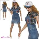 Ladies Zombie Hillbilly Costume Halloween Scary Adult Womens Fancy Dress Outfit