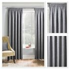 Matrix Woven Textured Blockout/Thermal Fully Lined Pencil Pleat Curtains Grey