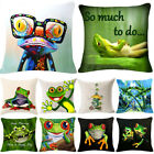 Frog Tropical Life Quote Pillow Case Cotton Linen Square Cushion Cover 18""