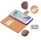 Leather Flip Wallet Card Slot Case Rubber Bumper Cover Samsung Galaxy S5 S6 S7