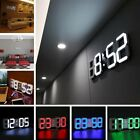 Modern Digital 3D White LED Wall Clock Alarm Clock Snooze 12/24 Hour Display BN