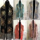 Party Wedding Evening Sheer Light Scarf With Gold Rose Foil Shawl Wrap