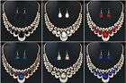 Women Indian Bridal Statement Crystal Necklace Earring Set Blue Red Multi