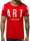 T-Shirt Kurzarm Shirt Aufdruck U-Neck Fitness Slim Fit Herren OZONEE O/1180 MIX
