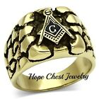 MENS'S ANTIQUE GOLD STAINLESS STEEL NUGGET STYLE MASONIC RING SIZE 8, 9