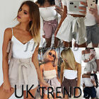 UK Womens High Waist Tie Belt Paper Bag Shorts Ladies Summer Pants Size 6 - 14