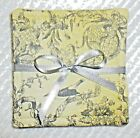 COASTER SETS~Toile Print~Gray & Yellow~Set Of 4~Reversible~Washable~Lined~NEW