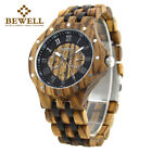 Bewell Wooden Watches for Men Multi Owl Dial Luxury Ebony Wood Wrist Watch Mens image
