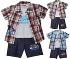 Boys 3 Piece RACING CAR Check Shirt Vest Top & Denim Shorts Set 2 to 10 Years