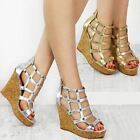 Womens Ladies Wedge Sandals High Heels Caged Summer Party Gladiator Shoes Size