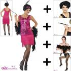 Ladies Pink 1920's Flapper Fancy Dress COSTUME + WIG + TIGHTS + BOA + CIG HOLDER