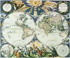 Vintage 1666 Map of The World  Pieter Goos Atlas Poster Art Reprint A4 A3