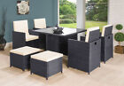 RATTAN GARDEN FURNITURE CUBE SET CHAIRS SOFA TABLE OUTDOOR PATIO RATTAN BLACK