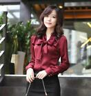 New Women's Bowknot slim Coat Fashion Office Shirt Long Sleeve Tops OL Blouses