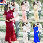 Pregnant Women Off-shoulder Lace Long Maxi Dress Maternity Photography Prop US