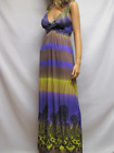 Women's Sexy Low Cut Maxi Sundress Paisley Print Smocked Beach Cover Casual Gown