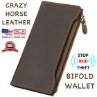 Внешний вид - Men's RFID Block Crazy Horse Leather ID Window Zipper Pocket Long Clutch Wallet