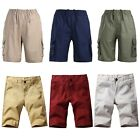 Men Loose Shorts Summer Casual Beach Sports Pockets Mid Waist Soft Pants Fashion
