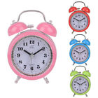 Classic Silent Double Bell Metal Alarm Clock Quartz Snooze Table Desk Bedside