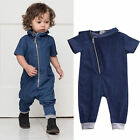 US Toddler Kids Baby Boy Girl Blue Jeans Jumpsuit Romper Jum