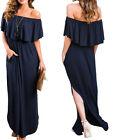 Womens Off The Shoulder Ruffle Party Dresses Side Split Beach Maxi Dress NEW
