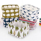 Внешний вид - Portable Cotton Linen Office Desktop Sundries Storage Basket Organizer w/ Handle