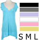 MANY COLORS Short Sleeve Button Slub Henley Tunic Top Size S M