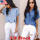 Women Blue Jean Button Short Sleeve Blouse Jacket Casual Sof