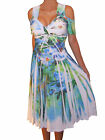 LN@ Funfash Plus Size Women Cold Shoulder White Floral A Line Dress Made in USA