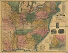 Poster Print Antique American Railroad Map Northern Usa
